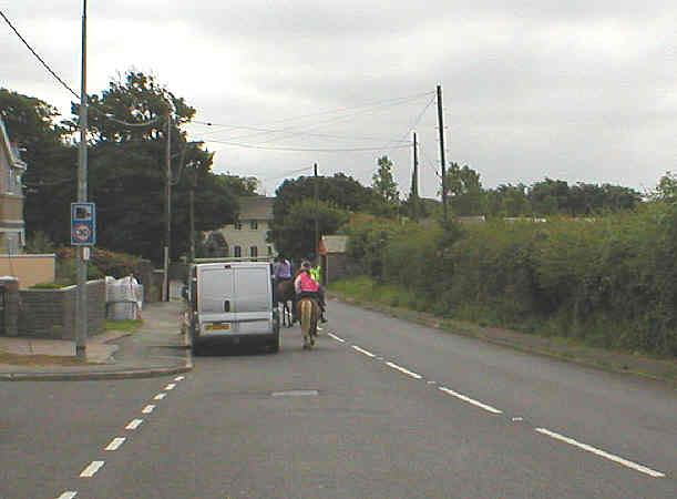 Horse riders following one of the many bridle ways in the area.  This is the road from Southerndown into St. Brides Major